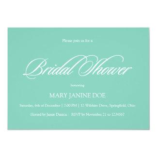 "Bridal Showel Seafoam Green Simple and Affordable 4.5"" X 6.25"" Invitation Card"