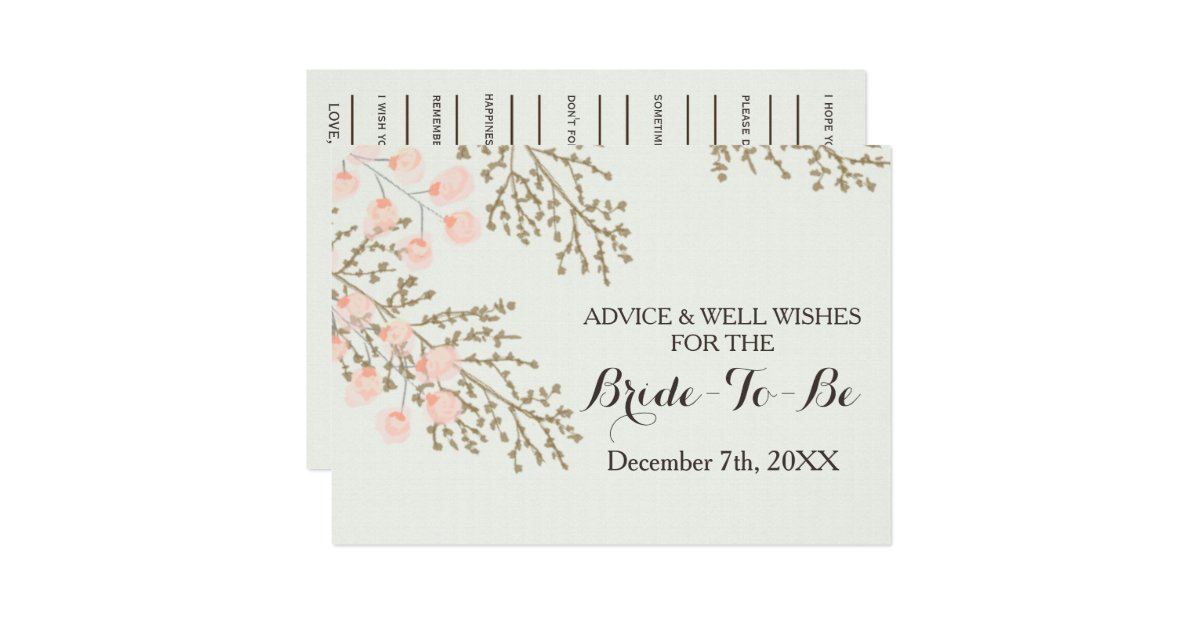 Bridal Shower Advice And Well Wishes Card