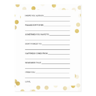 Bridal Shower Advice Cards Faux Gold Foil Glitter