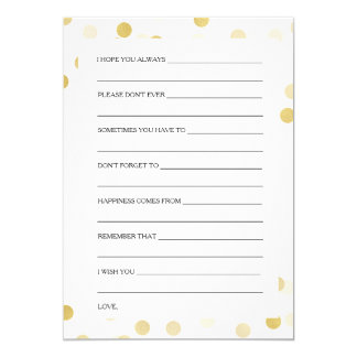 Bridal Shower Advice Cards Gold Foil Glitter Light