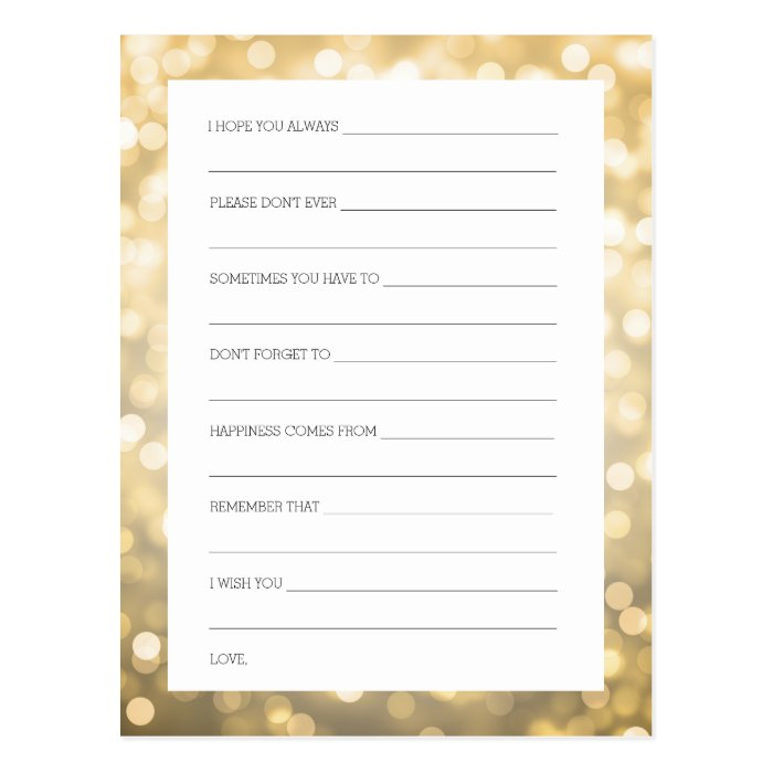 Bridal shower advice cards gold glitter lights zazzle for Bridal shower advice cards template