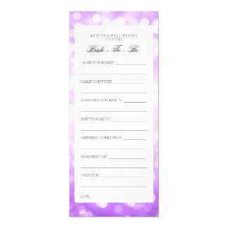 Bridal Shower Advice Cards Purple Glitter Lights