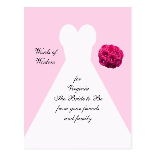 Bridal_shower_advice_post_cards_bridal_gown 239067660305102380 on Latest What To Write In A Bridal Shower Card