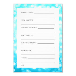Bridal Shower Advice Turquoise Glitter Lights Card
