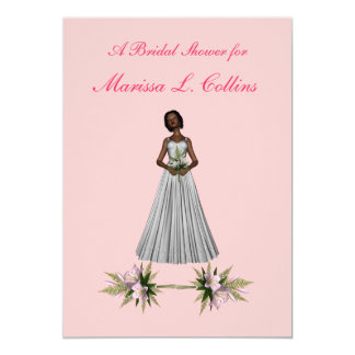 """Bridal Shower"" African-Amer Bride [1] w/ Pink Flo Card"