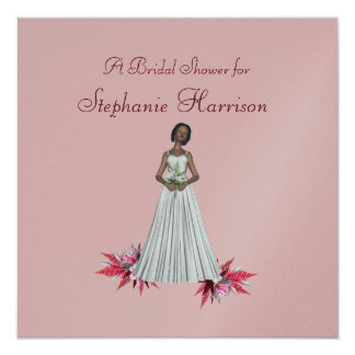 """Bridal Shower"" African-Amer Bride [2b] Pink Lill Card"
