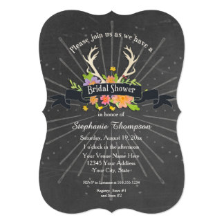 Bridal Shower Antler Wildflower Starburst Rustic Card