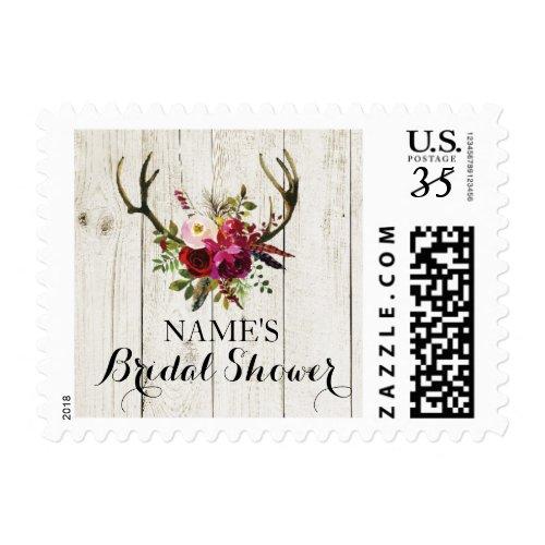 bridal shower antlers floral rustic stamps postage