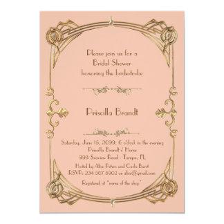 Bridal Shower, apricot & gold,Gatsby style, script Invitation
