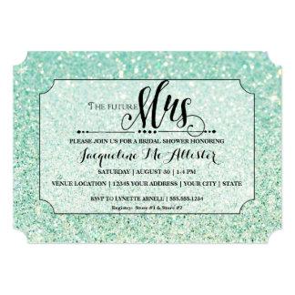 Bridal Shower Aqua Glitter Future Mrs. Ticket Card