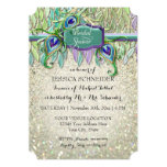 Bridal Shower Art Deco Peacock Feather Glitter Card