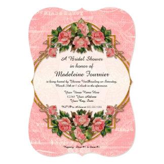 Bridal Shower Art Nouveau Blue Gold Glitter Roses Card