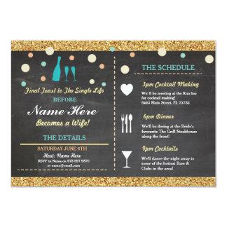 Bridal Shower Bachelorette Glitter Itinerary Blue Card
