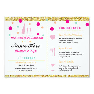 Bridal Shower Bachelorette Gold Glitter Itinerary Card