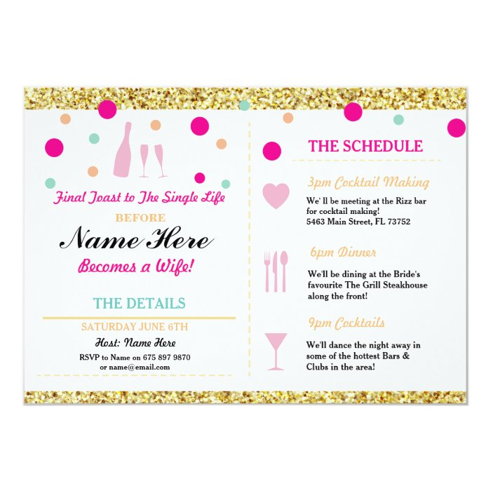 Bridal shower bachelorette gold glitter itinerary card for Bridal shower itinerary template