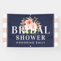 Bridal Shower Banner | Pink Watercolor Flowers