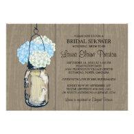 Bridal Shower Barn Wood Mason Jar Hydrangeas Custom Announcements