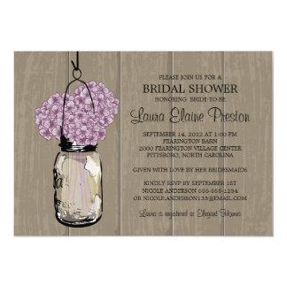 Bridal Shower Barn Wood Mason Jar Hydrangeas 5x7 Paper Invitation Card