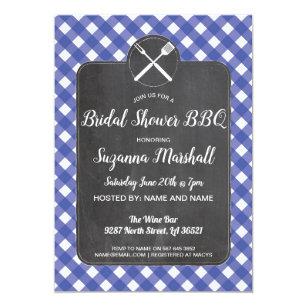 bridal shower bbq invite blue gingham chalk