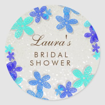 Beach Themed Bridal Shower Beach Blue Floral Confetti Pearl Classic Round Sticker