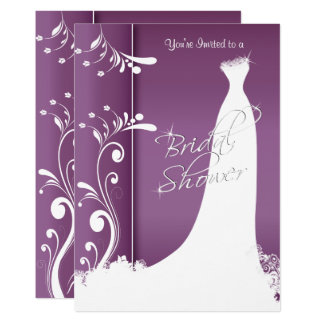 Bridal Shower - Beautiful Plum Purple Invitation