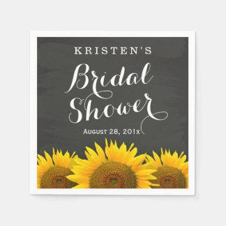 Bridal Shower Beautiful Sunflowers Chalkboard Napkin