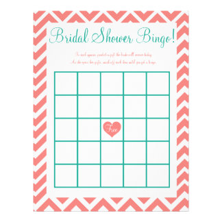 Bridal Shower Bingo Coral Teal Letterhead