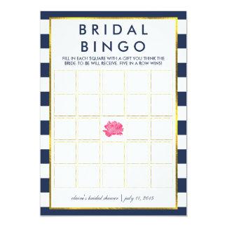 Bridal Shower Bingo Game Card | Navy Stripe Peony