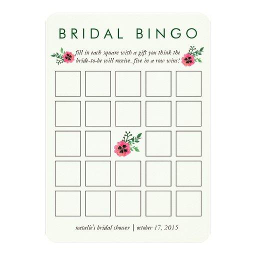 Bridal Shower Bingo Game Card Pink Floral Zazzle