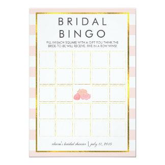 Bridal Shower Bingo Game Card | Pink Stripe Peony