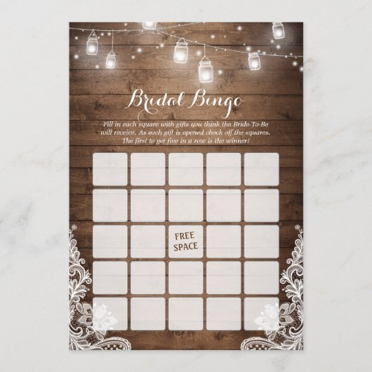 bridal shower bingo game rustic string lights lace
