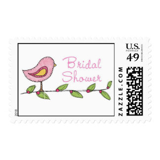 Bridal Shower Birdy in Tree Postage