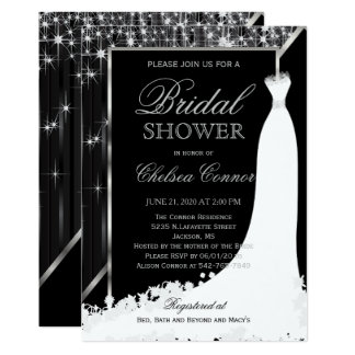 Bridal Shower - Black and Silver Star Lights Card