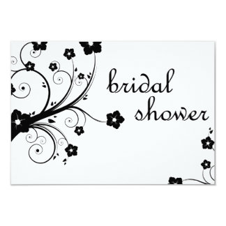 bridal shower : black and white blossoms card