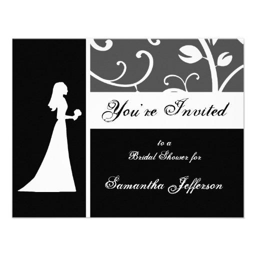 Bridal shower black and white vines invitation zazzle for Black and white bridal shower invitations