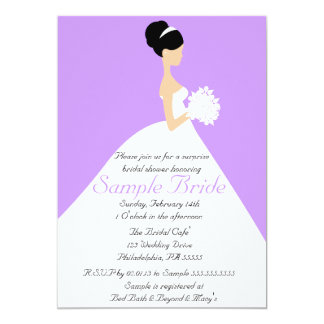 Bridal Shower Black Hair  Bride Invitation