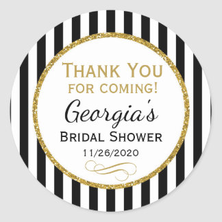 Bridal Shower Black Stripe Thank You Favor Tags