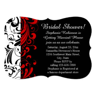 Bridal Shower Black, White, Red Swirl Card