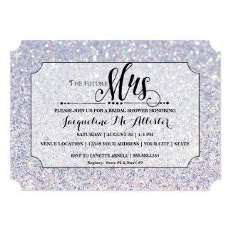 Bridal Shower Blue Glitter Future Mrs. Ticket Card