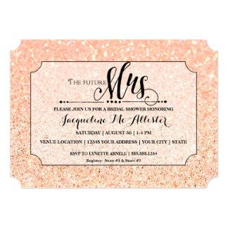 Bridal Shower Blush Glitter Future Mrs. Ticket Card