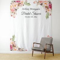 Bridal Shower Blush Pink Floral Photo Backdrop