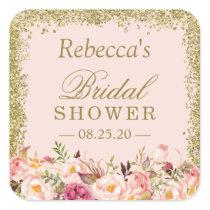 Bridal Shower Blush Pink Gold Glitters Floral Square Sticker