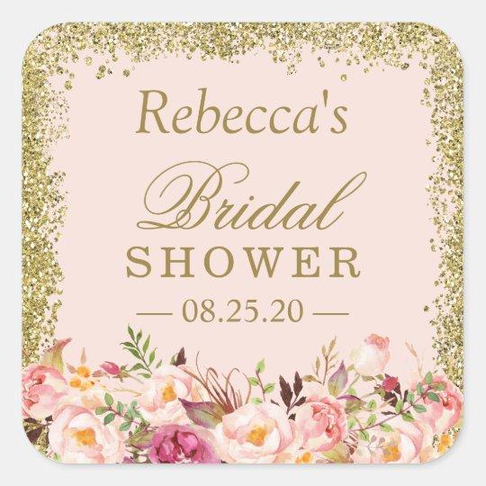 66a4b73ccff Bridal Shower Blush Pink Gold Glitters Floral Square Sticker ...
