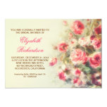 bridal shower blush pink roses watercolor 5x7 paper invitation card