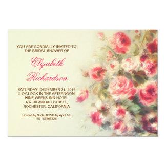 bridal shower blush pink roses watercolor 5x7 paper invitation card