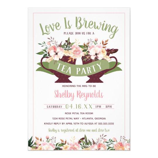 0c68ced3e82 Bridal Shower Boho Tea Party Invitation