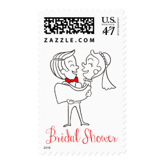 Bridal Shower Bride And Groom - Red, White, Black Postage