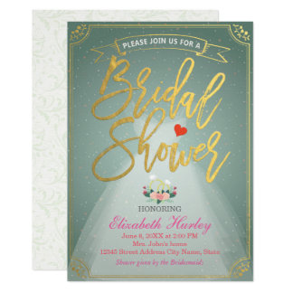 Bridal Shower Bride Dress and Diamond Ring Green Card
