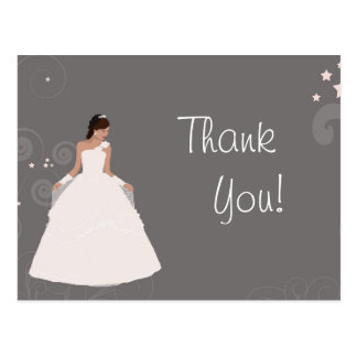 Bridal Shower Bride fancy white dress Thank You Postcard