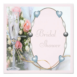 Bridal Shower Bride & Groom, Doves & Glass Floral Card